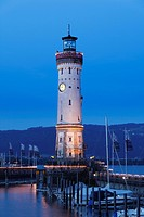 Lighthouse at the harbour at dusk, Lindau on Lake Constance, Swabia, Bavaria, Germany, Europe, PublicGround