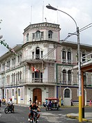 Former Palace Hotel, Iquitos, Peru is now Army headquarters. Covered with ornate painted tiles and of Moorish design, it was built between 1908 and 19...