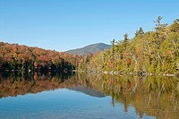 Treeline reflected in the lake, autumn coloured foliage, Indian Summer, Heart Lake, Adirondack Mountains, Adirondacks, New York State, USA, North Amer...