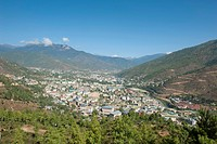 View from above to the capital of Thimphu, the Himalayas, Kingdom of Bhutan, South Asia, Asia