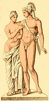 The ancient Greek mythical figures of Aphrodite and Ares or Venus and Mars, in the Roman pantheon. These are the goddess of love and the god of war, w...