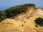 Hiker in eroded landscape, Cumbre de Chijeré in Vallehermoso, La Gomera, Canary Islands, Spain, Europe