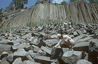 Geologist Abel Ramirez studies columnar basalts at the Devil´s Postpile National Monument, eastern California.