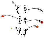 various stick figure characters playing sports