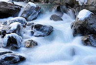 Small waterfalls in the Partnachklamm gorge at Garmisch_Partenkirchen, Werdenfelser Land region, Upper Bavaria, Bavaria, Germany, Europe