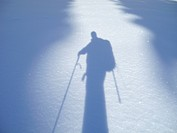 Shadow of a hiker, Unterberg, Piestingtal, Lower Austria, Austria, Europe