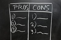 Chalkboard drawing _ Pros and Cons list side by side