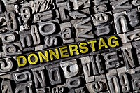 The word Donnerstag, German for Thursday, made of old lead type