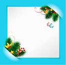 Christmas Frame with Sheet of White Paper for your Text or Photos, Mounted in Pockets with Bell and Fir Branches
