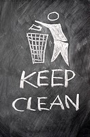 Keep clean sign drawn on a blackboard