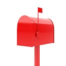 3d illustration of closed red mailbox