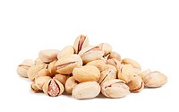 A heap of pistachios over white background