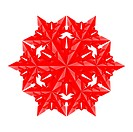 Red paper snowflake on a white background