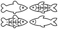 Vector stylized image of fish on white background. Can be used as the designation of products from fish or seafood. Symbol, stylized tattoo, icon.