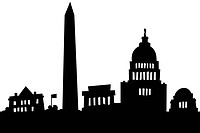 Cartoon skyline silhouette of the city of Washington, DC, USA (thumbnail)
