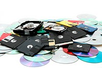 hard drive, floppy disc, and cd_rom as data background