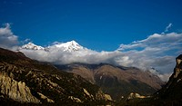 Snow peak mountain in cloud. Humde. Nepal.