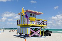 Beach watchtower '15 ST', Lifeguard Tower, Atlantic Ocean, South Beach Miami, Florida, USA