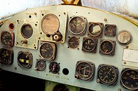 Detail of a old airplane cockpit