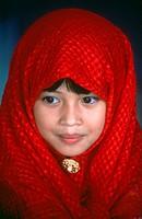 Muslim girl in red hijab, Sabah, Malaysia