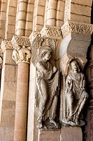 Detail of sculpture, Basilica of San Vicente, Avila, Castile and Leon, Spain, Europe