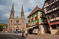 The imposing church Saint-Pierre-et-Paul in Obernai, Alsace, France, Europe