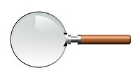 Magnifier. The isolated magnifier on a white background with the wooden handle