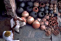 India, Rajahstan, Jaipur, Pottery Seller