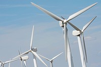 group of windmills for electric power production ecological