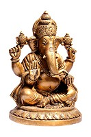 Hindu God Ganesha isolated on white with clipping path