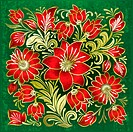abstract green grunge background with red floral ornament, Image contains gradient mesh