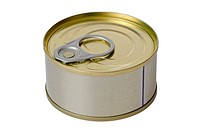 Tuna fish tin can isolated on white background.