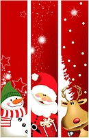 Three vector Christmas banners. Image contains a gradient mesh. File: AI8 eps, jpg.