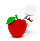 3D Illustration of a Kid Holding an A Flash Card