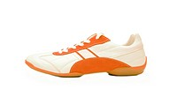 White and orange sport shoes isolated on white background