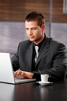 Elegant businessman working on laptop, sitting at desk.