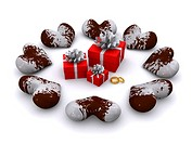 chocolate hearts around gifts. 3d