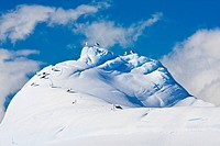 Beautiful snow_capped mountains against the blue sky in Antarctica