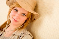 Portrait of happy young woman wear hat safari outfit