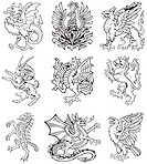Vectorial pictograms of most heraldic monsters, executed in style of gravure on wood. No dlends, gradients and strokes.