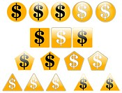 Set of dollar icons, created with inkscape.