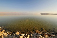 Calm surface of Dead Sea in winter.