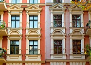 Windows of two rehabilitated townhouses in Berlin