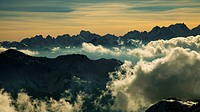 High mountain landscape with clouds