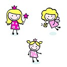 Collection of Doodle princess characters. Vector cartoon Illustration.