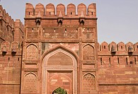 Ramparts guarding the entrance to the Red Fort in Agra. Large fortified building. Uttar Pradesh, India