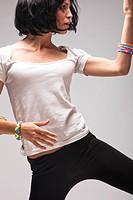 black hair woman dance, studio shot