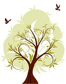 Background with Tree and bird, element for design, vector illustration