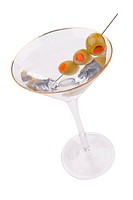Martini and olives close up on white background with clipping path