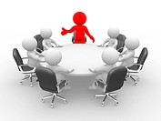 3d people _ human character _ person . Leadership and team at conference table. This is a 3d render illustration